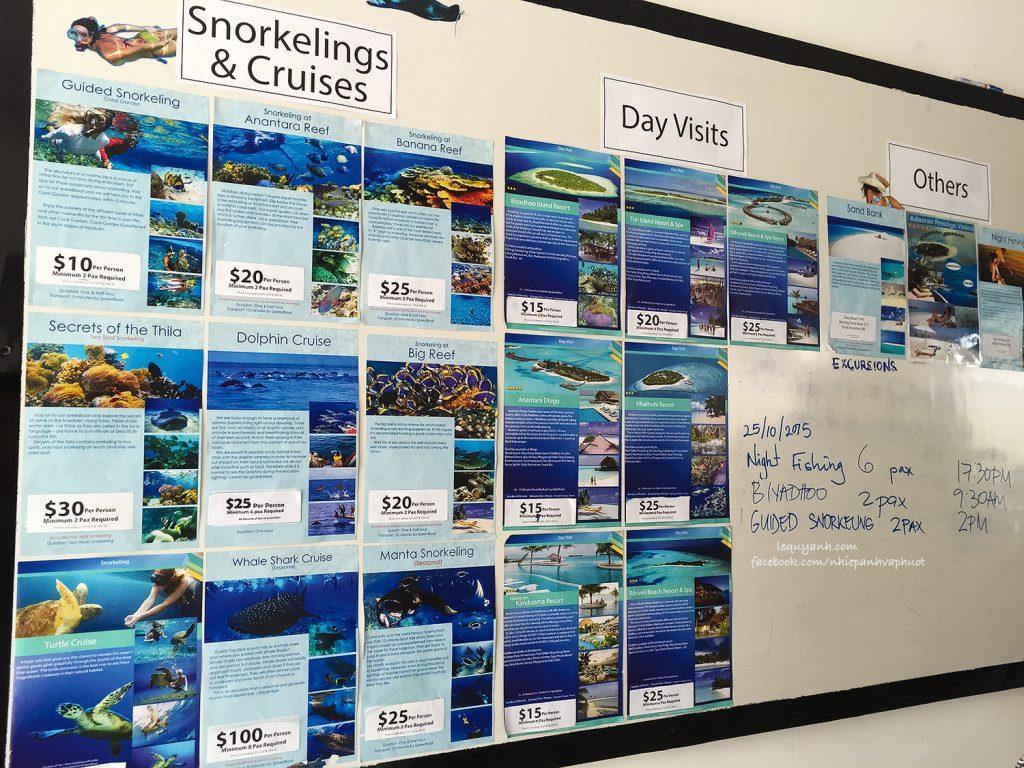 Bảng giá tour ở Maafushi