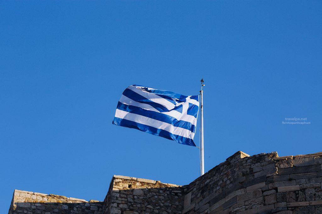Lá cờ Hy Lạp trên đỉnh Acropolis