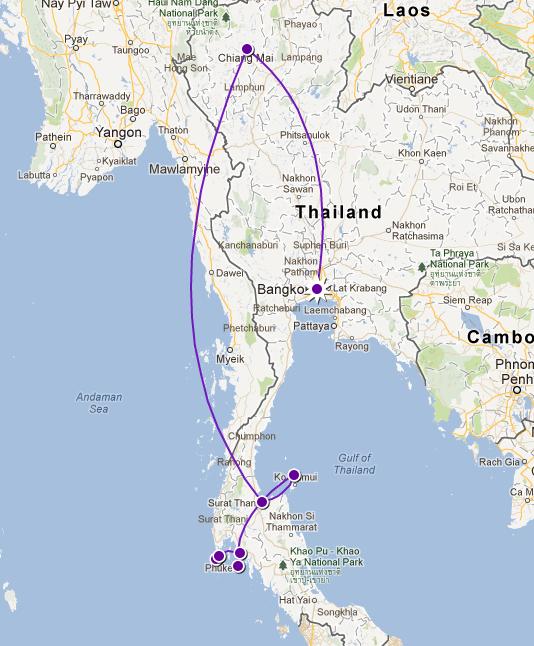 Thailand-map 30 days