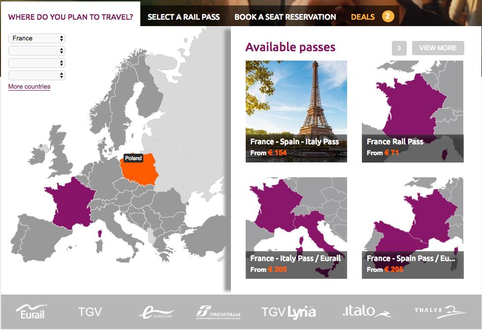 Giao diện lựa chọn Eurail Pass của RailEurope