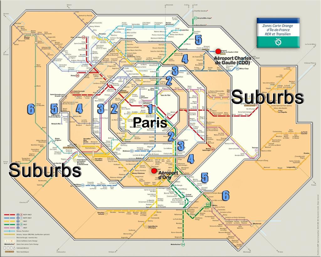 Phân chia các vùng (zone) ở Paris