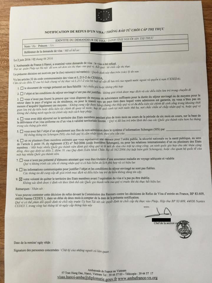 Mẫu giấy từ chối cấp Visa thông thường của LSQ Pháp
